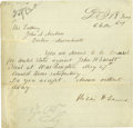 "Autographs:Statesmen, William Seward Telegram Signed while secretary of state, one page, 7.75"" x 7.5"", no place, May 18 [1867], to John A. Andrew,..."