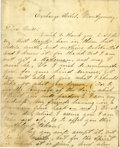 "Autographs:Military Figures, John Wilkes Booth Autograph Letter Signed ""J. Wilkes Booth"",about one and one-fifth pages, 6.5"" x 8"" (penned on the fir..."