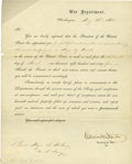 "Autographs:Statesmen, Edwin M. Stanton Partly Printed Letter Signed as secretary of war,on Department letterhead, 1 page, 8"" x 10"", Washington, 3..."