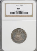Proof Seated Quarters: , 1871 25C PR61 NGC. NGC Census: (5/91). PCGS Population (15/111).Mintage: 960. Numismedia Wsl. Price for NGC/PCGS coin in P...
