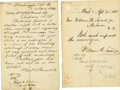 Autographs:Statesmen, [Assassination Attempt] William H. Seward Two Telegram TransmissionCopies sent from Washington, D.C., by William H. Seward ... (Total:2 Items)