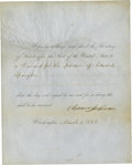 "Autographs:U.S. Presidents, Andrew Johnson Partly Printed Document Signed: ""I hereby authorize and direct the Secretary of State to affix the Seal of the ..."