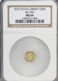 California Fractional Gold: , 1870 50C Liberty Octagonal 50 Cents, BG-909, R.6, MS64 NGC. NGCCensus: (1/0). PCGS Population (6/3). (#10767)...