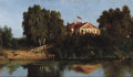 Fine Art - Painting, Russian, VASILY DIMITRIEVICH POLENOV (Russian, 1844-1927). Landscape withHouse. Oil on artist board. 7 x 12-1/2 inches (17.8 x 3...