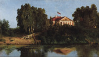 VASILY DIMITRIEVICH POLENOV (Russian, 1844-1927) Landscape with House Oil on artist board 7 x 12-