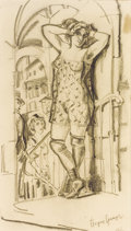 Fine Art - Work on Paper:Drawing, BORIS GRIGORIEV (Russian, 1886-1939). Prostitute in Doorway.Graphite on paper. 12 x 7 inches (30.5 x 17.8 cm). Signed l...