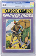 Golden Age (1938-1955):Classics Illustrated, Classic Comics #10 Robinson Crusoe - Original Edition (Gilberton, 1943) CGC VF 8.0 Cream to off-white pages....