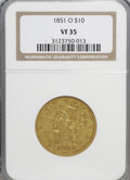 Liberty Eagles: , 1851-O $10 VF35 NGC. NGC Census: (17/743). PCGS Population(24/362). Mintage: 263,000. Numismedia Wsl. Price for NGC/PCGS c...