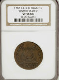 Colonials, 1787 1C Fugio Cent, Club Rays, Rounded Ends VF30 NGC....