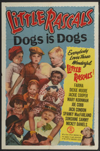 """Little Rascals Stock Poster (Monogram, R-1950s). One Sheet (27"""" X 41"""") Dogs is Dogs. Comedy"""