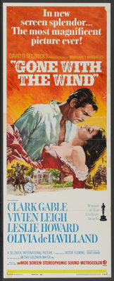 """Gone with the Wind (MGM, R-1968). Insert (14"""" X 36""""). Academy Award Winner"""