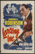 "Movie Posters:Comedy, Larceny, Inc. (Warner Brothers, 1942). One Sheet (27"" X 41"").Comedy...."