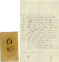 "Autographs:Celebrities, Laura Keene Autograph Letter Signed. One page, 5"" x 8"", no place,14 January 1860, to an unnamed gentleman. ... (Total: 2 Items)"