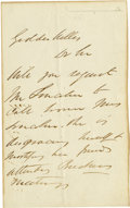 """Autographs:Celebrities, [Mary Todd Lincoln] Anonymous Letter to Secretary of the Navy Gideon Welles asking him to """"request Mr. Lincoln to call hom..."""