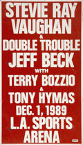 Music Memorabilia:Posters, Stevie Ray Vaughan and Jeff Beck Concert Poster....