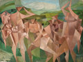 Paintings, PAUL ACKERMAN (French, 1908-1981). Personnages Cubistes (Seven Figures in a Landscape), 1950. Oil on canvas. 57-1/2 x 74...