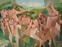 PAUL ACKERMAN (French, 1908-1981) Personnages Cubistes (Seven Figures in a Landscape), 1950 Oil on c