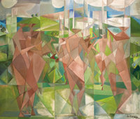 PAUL ACKERMAN (French, 1908-1981) Personnages Cubistes, 1949-1950 Oil on canvas 62 x 73 inches (1