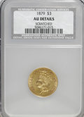 Three Dollar Gold Pieces: , 1879 $3 --Scratched--NCS. AU Details. NGC Census: (3/335). PCGS Population (7/448). Mintage: 3,000. Numismedia Wsl. Price fo...