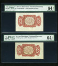Fractional Currency:Third Issue, Pair of Fr. 1291spwmb 25c Third Issue PMG Choice Uncirculated 64 EPQ.... (Total: 2 notes)