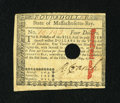 Colonial Notes:Massachusetts, Massachusetts May 5, 1780 $4 Extremely Fine-About New, POC....