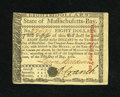 Colonial Notes:Massachusetts, Massachusetts May 5, 1780 $8 Choice New, PC....
