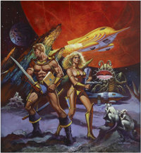 KEN BARR (English 20th Century) Space Fantasy, video game box art, 1986 Acrylic on board 22 x 20