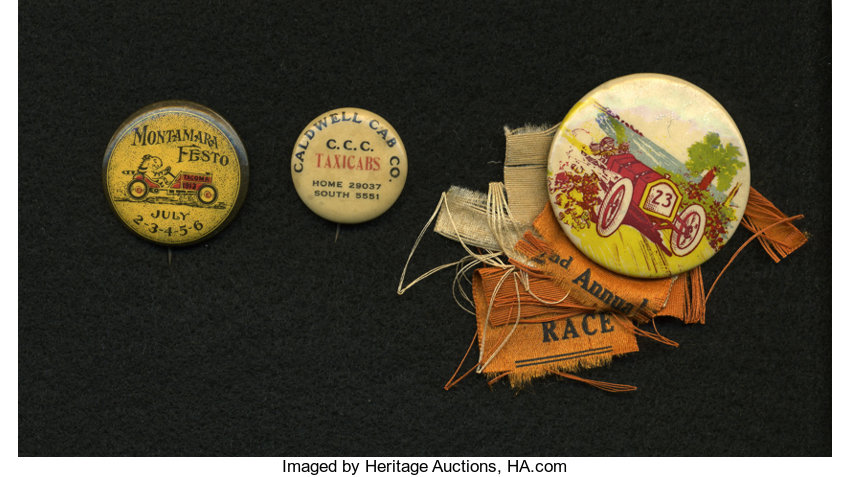 Vintage Auto Racing Buttons and Ribbon     (Total: 3 pieces) | Lot
