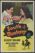 "Movie Posters:Western, South of Monterey (Monogram, 1946). One Sheet (27"" X 41"").Western...."