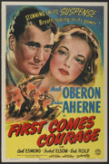 "Movie Posters:War, First Comes Courage (Columbia, 1943). One Sheet (27"" X 41"").War...."