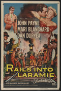 "Movie Posters:Western, Rails Into Laramie (Universal, 1954). One Sheet (27"" X 41"") andHalf Sheet (22"" X 28""). Western.... (Total: 2 Items)"