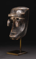African: , Bete (?) (Liberia/Côte d'Ivoire). Face Mask. Wood, carpet tacks.Height: 10 ½ inches Width: 6 3/8 inches Depth: 5 ½ inches...