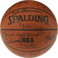 Basketball Collectibles:Balls, NBA 50th Anniversary Team Signed Basketball. Here we offer a signedbasketball with a total of 18 signatures from the NBA's...