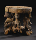 African: , Yoruba (Nigeria). Stool. Wood, pigments. Height: 9 inches Max. dia.of seat: 9 5/8 inches. This monoxyl stool comprises ...