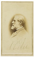 "Autographs:Military Figures, Robert E. Lee Signed CDV, ""R E Lee, Vannerson & Jones,Richmond, Virginia backmark. General Lee is shown here inprofile..."