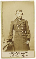 """Autographs:Military Figures, Ulysses S. Grant Wartime CDV Signed """"U.S. Grant Lt. Gen. U.S.A.."""" Anthony backmark. Although Grant here appears as a maj..."""