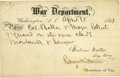 """Autographs:Statesmen, Edwin M. Stanton and Gideon Welles Partly Printed Pass Signed byBoth, allowing """"Col. Baker & Major Eckert & guard on..."""