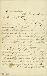 "Anna E. Surratt Autograph Petition Signed Requesting the Remains of her Mother Mary Surratt, 1 page, 5"" x"