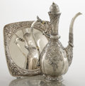 Silver Holloware, American:Coffee Pots, AN AMERICAN SILVER COFFEE POT AND UNDER TRAY. Gorham ManufacturingCo., Providence, Rhode Island, 1886. Marks: (lion-anchor-...(Total: 2 Items)