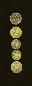 Expositions and Fairs, Five-Piece Lot of Zerbe 1904 World's Fair Gold Tokens.... (Total: 5tokens)