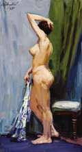 Fine Art - Painting, Russian:Contemporary (1950 to present), SEMON A. ROTNITSKY (Russian, b. 1915). Standing Nude, 1991.Oil on board. 32 x 17-1/2 inches (81.3 x 44.5 cm). Signed an...