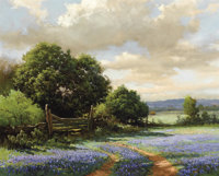 ROBERT WILLIAM WOOD (American, 1889-1979) Texas Bluebonnets Oil on canvas 24 x 30 inches (61.0 x