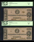 Confederate Notes:1862 Issues, A Trio of T54's $2 1862 PF-11 Cr. 392.. ... (Total: 3 notes)