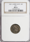 Bust Dimes, 1821 10C Large Date MS61 NGC....