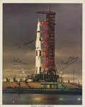 Autographs:Celebrities, Apollo 11 Color Photo Signed by Armstrong, Aldrin, and Collins....