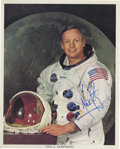 """Autographs:Celebrities, Neil Armstrong Color Spacesuit Photo Signed But Not Inscribed, thepopular """"smiling"""" pose...."""