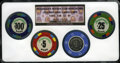 Casino and Gaming Tokens, 1976 $1 first Issue Casino Chips.The set includes $1,$5,$25,$100 chips NGC.Ex:Fitzgerald's Nevada Club Reno Hoard. NGC C...