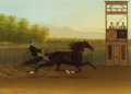 Paintings, JOHN J. MCAULIFFE (American, 1830-1900). Trotting Horse Time 2.25, 1872. Oil on canvas. 26 x 36 inches (66.0 x 91.4 cm)...