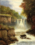 Fine Art - Painting, European:Antique  (Pre 1900), CHARLES HENRY PASSEY (British, 1840-1915). WaterfallLandscape. Oil on canvas. 18 x 14 inches (45.7 x 35.6 cm).Signed l...
