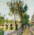 Fine Art - Painting, European, CONSTANTIN KLUGE (French, 1912-2003). Le Pont Marie (MarieBridge). Oil on canvas. 32 x 32 inches (81.3 x 81.3 cm).Sign...